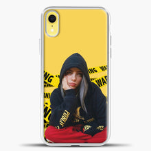 Load image into Gallery viewer, Billie Eilish Warning Yellow iPhone XR Case, White Plastic Case | casedilegna.com