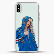 Load image into Gallery viewer, Billie Eilish Wearing A Blue Jacket iPhone XS Case, White Plastic Case | casedilegna.com