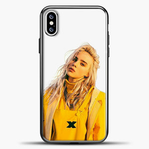 Billie Eilish White Background iPhone XS Case, Black Plastic Case | casedilegna.com