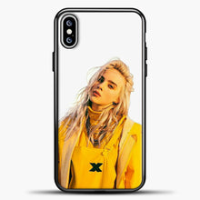 Load image into Gallery viewer, Billie Eilish White Background iPhone XS Max Case, Black Plastic Case | casedilegna.com