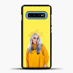 Billie Eilish Yellow Background Samsung Galaxy S10 Case, Black Plastic Case | casedilegna.com