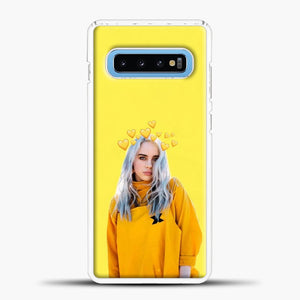 Billie Eilish Yellow Background Samsung Galaxy S10 Case, White Plastic Case | casedilegna.com
