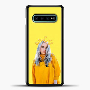 Billie Eilish Yellow Background Samsung Galaxy S10e Case, Black Plastic Case | casedilegna.com