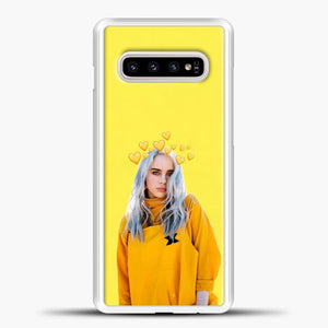Billie Eilish Yellow Background Samsung Galaxy S10e Case, White Plastic Case | casedilegna.com