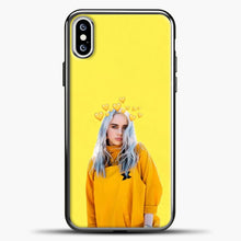 Load image into Gallery viewer, Billie Eilish Yellow Background iPhone XS Case, Black Plastic Case | casedilegna.com