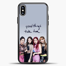 Load image into Gallery viewer, Blackpink Good Thing Take Time iPhone XS Max Case, Black Plastic Case | casedilegna.com