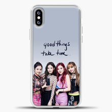 Load image into Gallery viewer, Blackpink Good Thing Take Time iPhone XS Max Case, White Plastic Case | casedilegna.com