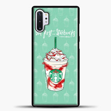 Load image into Gallery viewer, But First Starbucks Samsung Galaxy Note 10 Plus Case, Black Plastic Case | casedilegna.com