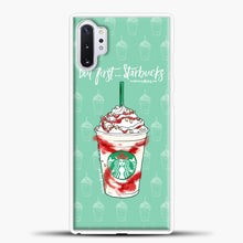 Load image into Gallery viewer, But First Starbucks Samsung Galaxy Note 10 Plus Case, White Plastic Case | casedilegna.com
