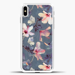Butterflies And Hibiscus Flowers iPhone Case, White Plastic Case | casedilegna.com