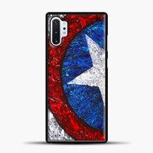 Load image into Gallery viewer, Captain America Splash Paint Logo Samsung Galaxy Note 10 Plus Case, Black Plastic Case | casedilegna.com