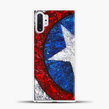 Load image into Gallery viewer, Captain America Splash Paint Logo Samsung Galaxy Note 10 Plus Case, White Plastic Case | casedilegna.com