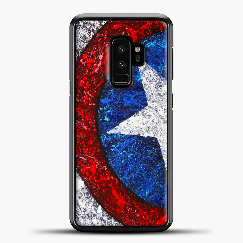 Captain America Splash Paint Logo Samsung Galaxy S9 Case, Black Plastic Case | casedilegna.com