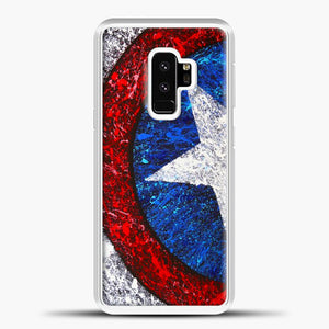 Captain America Splash Paint Logo Samsung Galaxy S9 Case, White Plastic Case | casedilegna.com