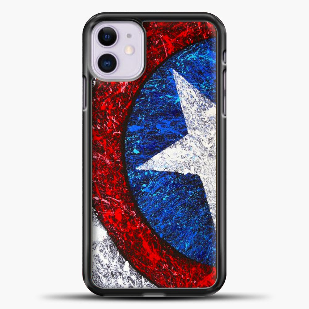 Captain America Splash Paint Logo iPhone 11 Case, Black Plastic Case | casedilegna.com