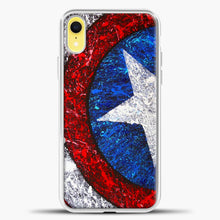 Load image into Gallery viewer, Captain America Splash Paint Logo iPhone XR Case, White Plastic Case | casedilegna.com