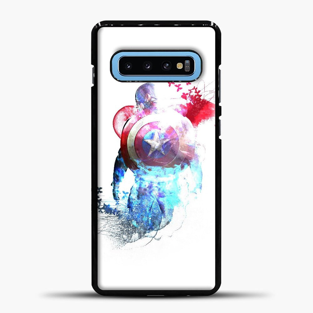 Captain America Watercolor Back White Samsung Galaxy S10 Case, Black Plastic Case | casedilegna.com