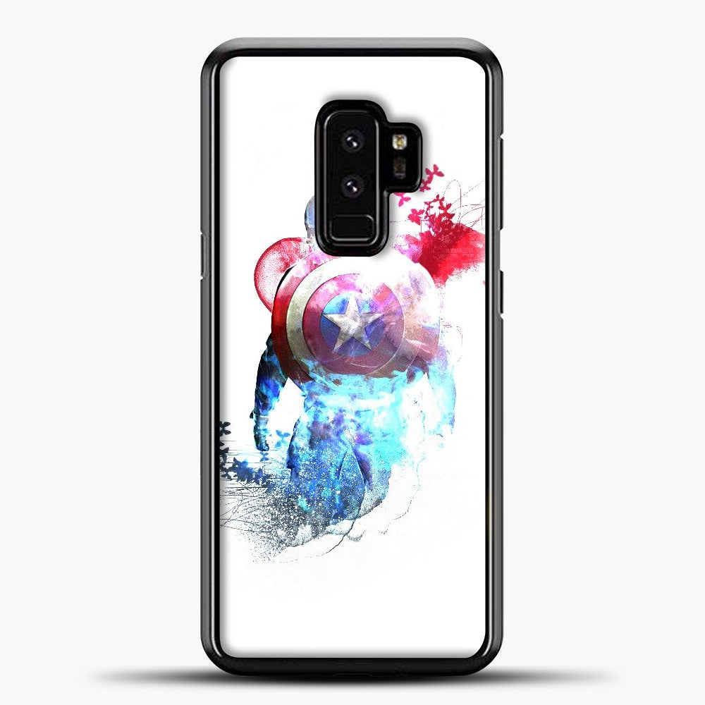 Captain America Watercolor Back White Samsung Galaxy S9 Plus Case, Black Plastic Case | casedilegna.com