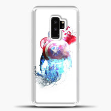 Load image into Gallery viewer, Captain America Watercolor Back White Samsung Galaxy S9 Plus Case, White Plastic Case | casedilegna.com