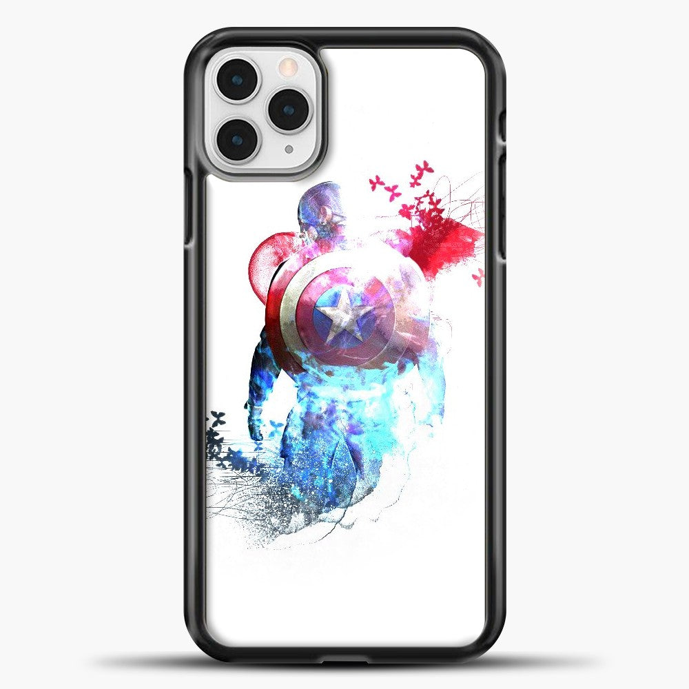 Captain America Watercolor Back White iPhone 11 Pro Case, Black Plastic Case | casedilegna.com
