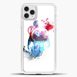 Captain America Watercolor Back White iPhone 11 Pro Case, White Plastic Case | casedilegna.com