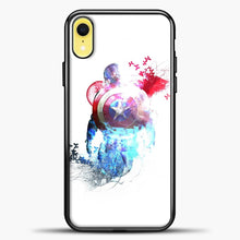 Load image into Gallery viewer, Captain America Watercolor Back White iPhone XR Case, Black Plastic Case | casedilegna.com