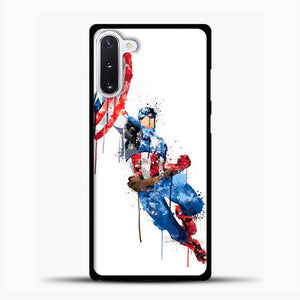 Captain America Watercolor Jump White Samsung Galaxy Note 10 Case, Black Plastic Case | casedilegna.com