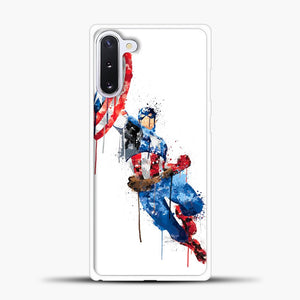 Captain America Watercolor Jump White Samsung Galaxy Note 10 Case, White Plastic Case | casedilegna.com