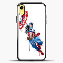 Load image into Gallery viewer, Captain America Watercolor Jump White iPhone XR Case, Black Plastic Case | casedilegna.com