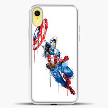 Load image into Gallery viewer, Captain America Watercolor Jump White iPhone XR Case, White Plastic Case | casedilegna.com