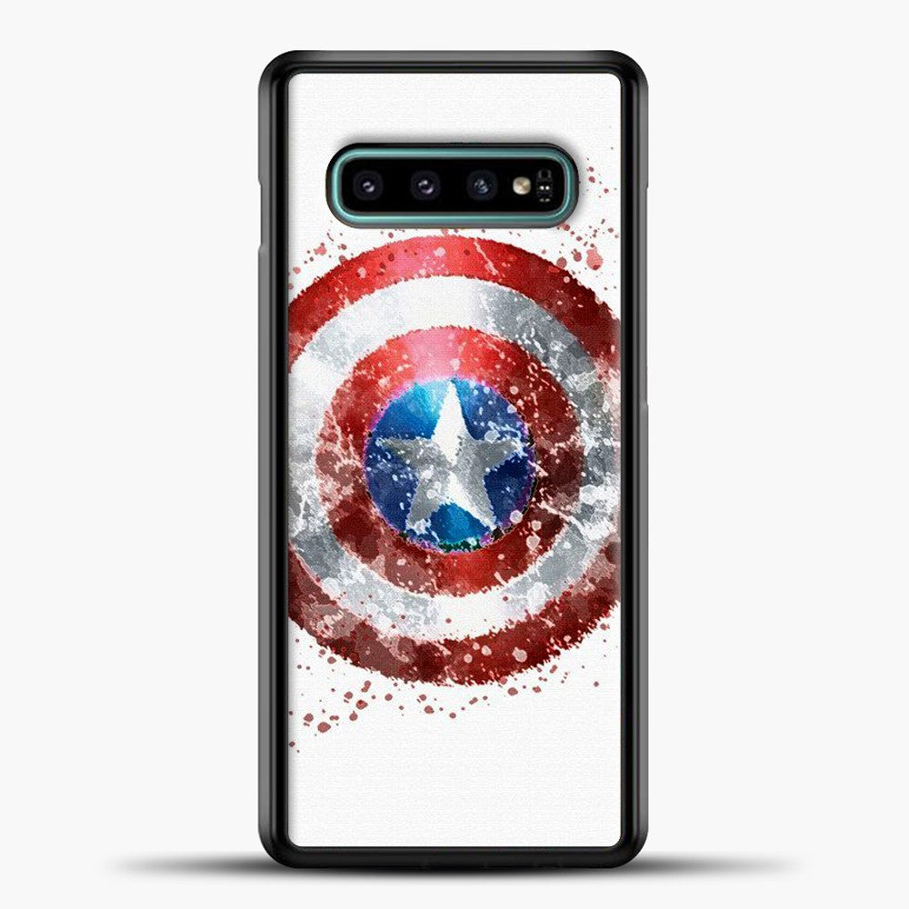 Captain America Watercolor Shield Samsung Galaxy S10e Case, Black Plastic Case | casedilegna.com