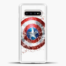 Load image into Gallery viewer, Captain America Watercolor Shield Samsung Galaxy S10e Case, White Plastic Case | casedilegna.com