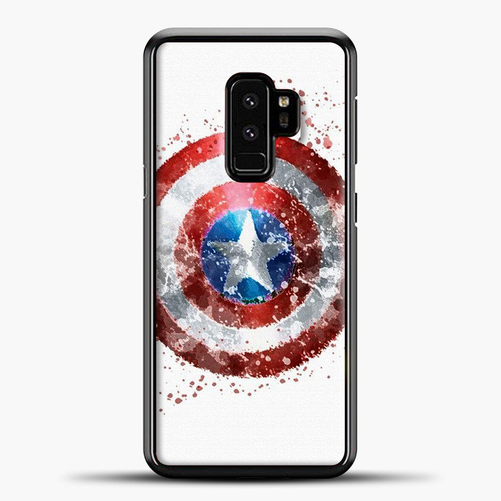 Captain America Watercolor Shield Samsung Galaxy S9 Case, Black Plastic Case | casedilegna.com