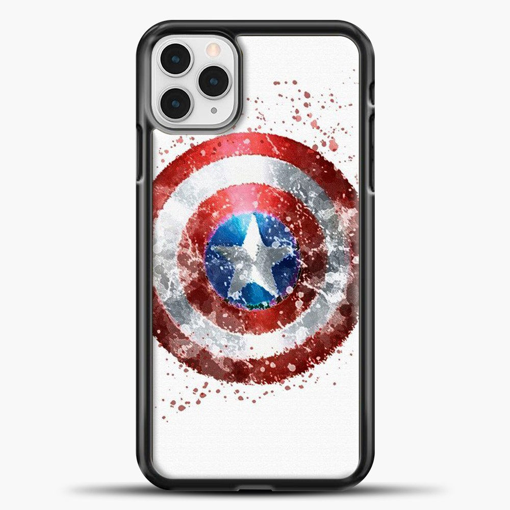 Captain America Watercolor Shield iPhone 11 Pro Case, Black Plastic Case | casedilegna.com