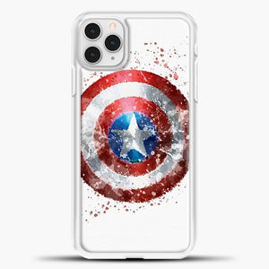 Captain America Watercolor Shield iPhone 11 Pro Case, White Plastic Case | casedilegna.com