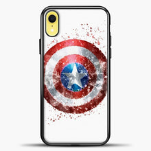 Load image into Gallery viewer, Captain America Watercolor Shield iPhone XR Case, Black Plastic Case | casedilegna.com