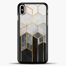 Load image into Gallery viewer, Charcoal Hexagons iPhone Case, Black Plastic Case | casedilegna.com