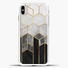 Load image into Gallery viewer, Charcoal Hexagons iPhone Case, White Plastic Case | casedilegna.com