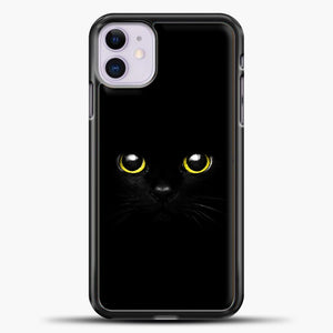 Cheshire Cat Cute Eyes iPhone 11 Case, Black Plastic Case | casedilegna.com