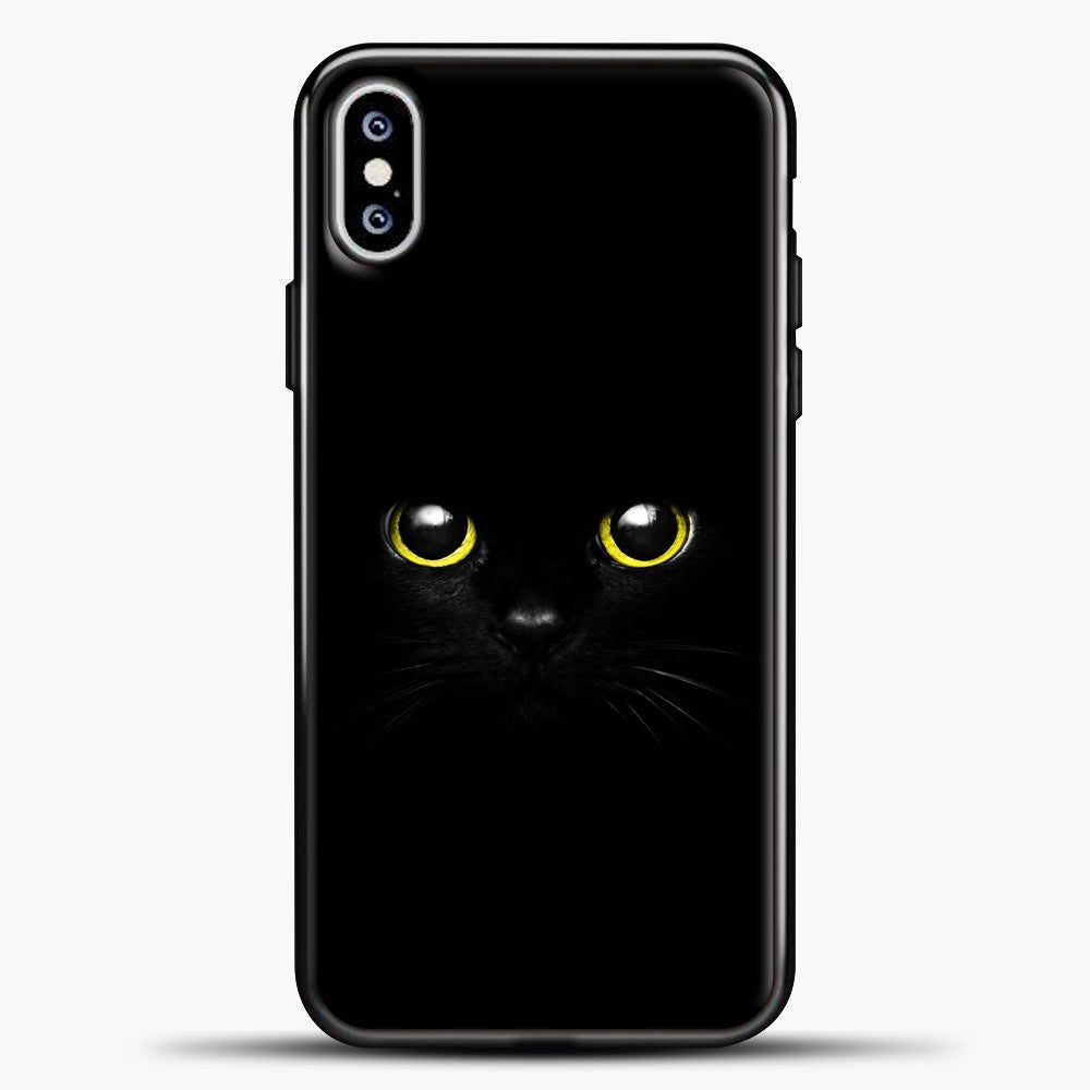Cheshire Cat Cute Eyes iPhone XS Max Case, Black Plastic Case | casedilegna.com