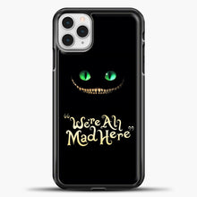 Load image into Gallery viewer, Cheshire Cat Green Eyed Cat iPhone 11 Pro Case, Black Plastic Case | casedilegna.com