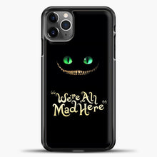 Load image into Gallery viewer, Cheshire Cat Green Eyed Cat iPhone 11 Pro Max Case, Black Plastic Case | casedilegna.com