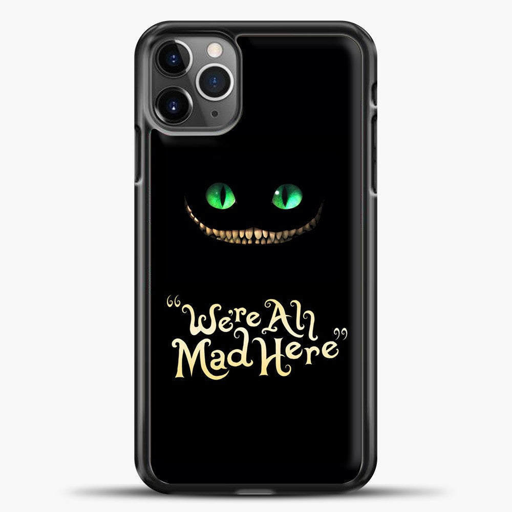 Cheshire Cat Green Eyed Cat iPhone 11 Pro Max Case, Black Plastic Case | casedilegna.com