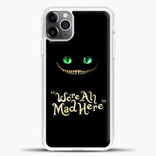 Load image into Gallery viewer, Cheshire Cat Green Eyed Cat iPhone 11 Pro Max Case, White Plastic Case | casedilegna.com