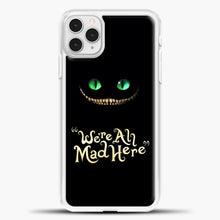 Load image into Gallery viewer, Cheshire Cat Green Eyed Cat iPhone 11 Pro Case, White Plastic Case | casedilegna.com