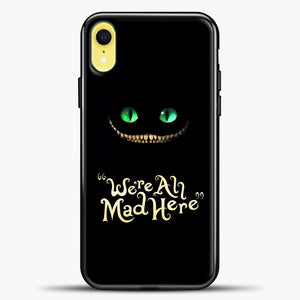 Cheshire Cat Green Eyed Cat iPhone XR Case, Black Plastic Case | casedilegna.com