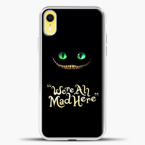 Cheshire Cat Green Eyed Cat iPhone XR Case, White Plastic Case | casedilegna.com