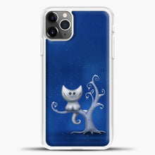 Load image into Gallery viewer, Cheshire Cat In The Tree iPhone 11 Pro Max Case, White Plastic Case | casedilegna.com