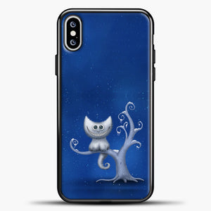 Cheshire Cat In The Tree iPhone XS Max Case, Black Plastic Case | casedilegna.com