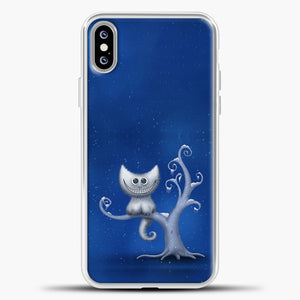 Cheshire Cat In The Tree iPhone XS Max Case, White Plastic Case | casedilegna.com